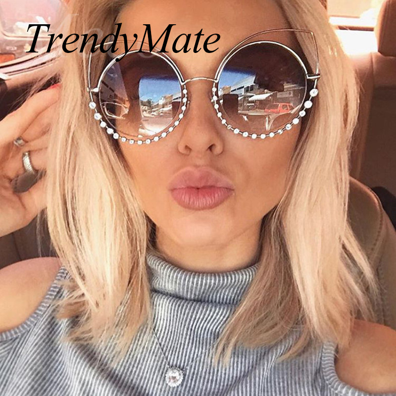 Hot 2018 Fashion Sunglasses Women Luxury Brand Designer Vintage Sun glasses Female Rivet Shades Big Frame Style Eyewear 364M