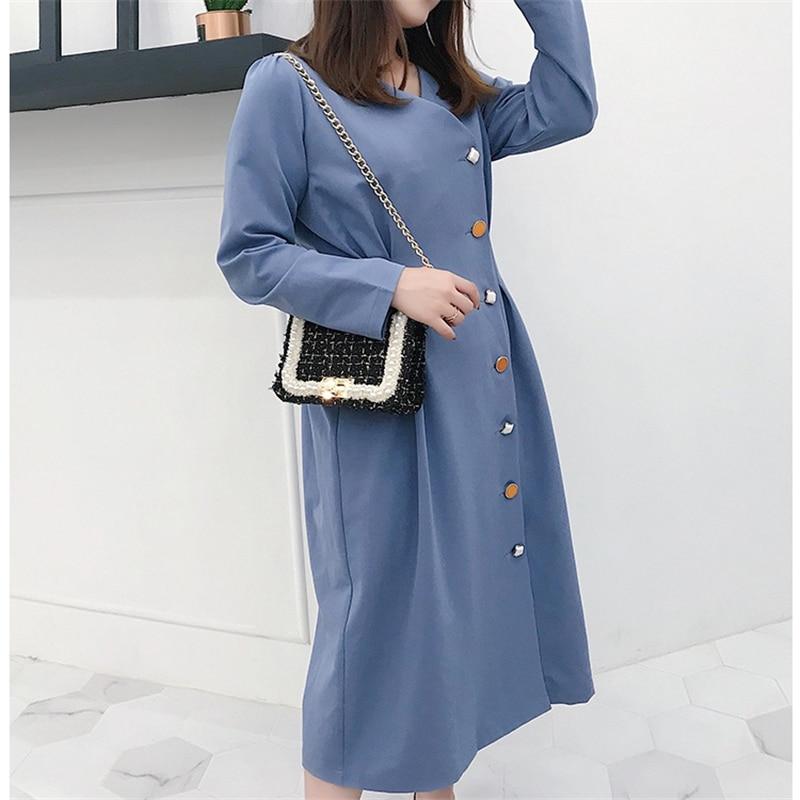 Casuale Kulazopper Della Autunno Dress Molla lungo Mid Con Lady Formato Elegante Il Vestito Donne Black Di Vintage Più Tasto blue Delle Femminile Kw179 awqxIUtpra