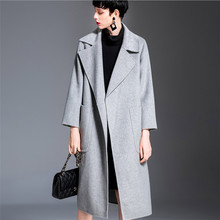Women Autumn Winter Thick Warm Woolen Coats 2018 High Quality Double Side Cashmere European Long Wool Coat V1019 yuoomuoo new women wool coat autumn winter medium long female cashmere coat european style ladies warm casual grey woolen coats