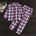 2017 Primavera Marca Mulheres Homewear conjuntos de Pijama Feminino de Algodão Xadrez Sleepwear terno Laides Casuais Turn-down Colarinho da camisa + calças