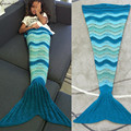 Gamiss Mermaid Tail Manta de Ganchillo Hecho A Mano de Punto Otoño Invierno Kids Warm Stripe Print Fish Throw Sofá Cama Wrap Saco de dormir