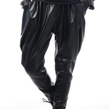 Stage character males pants black slim harem pant males ft trousers singer dance rock trend pantalon homme road