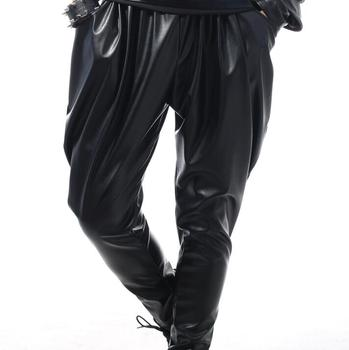 Stage personality men pants black slim harem pant men feet trousers singer dance rock fashion pantalon homme street