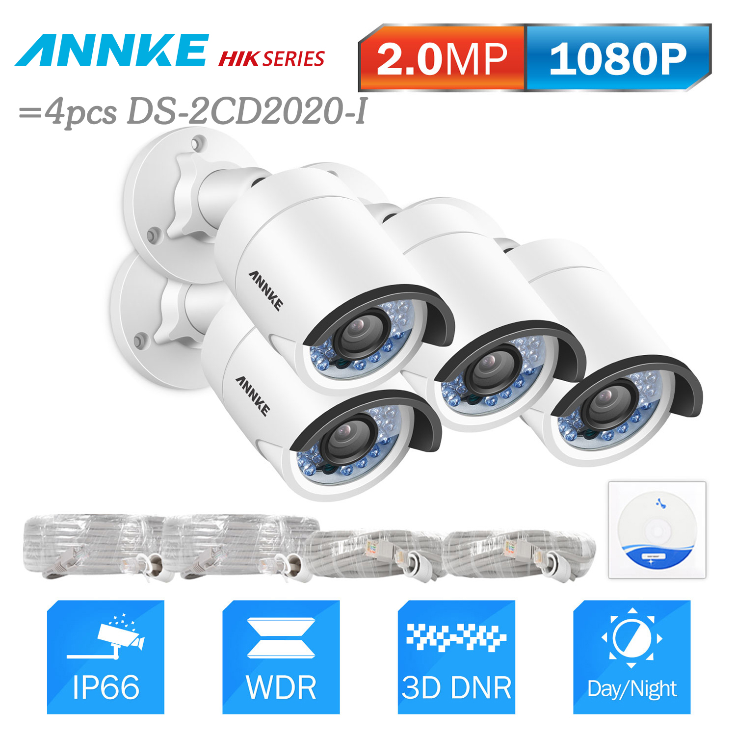 ANNKE 4pcs 2.0 MP HD PoE Security Bullet IP Camera 30m Night Vision With IP66 Weatherproof Metal Case=4pcs HIK DS-2CD2020-I bullet camera tube camera headset holder with varied size in diameter