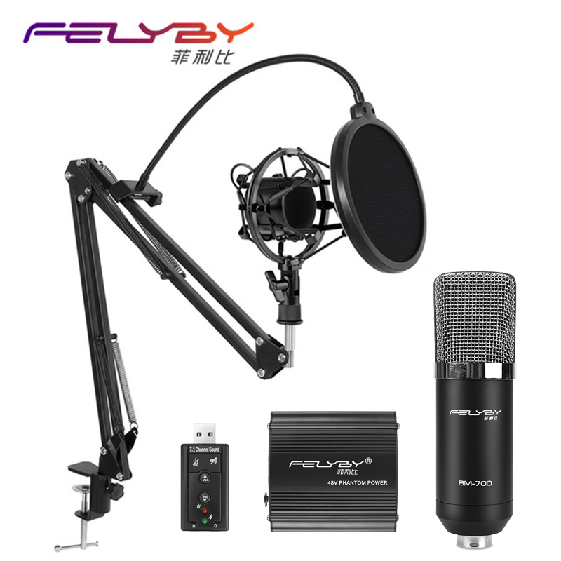 все цены на FELYBY audio kit bm 700 fashion condenser microphone for computer karaoke microphones recording studio profession microphone