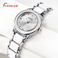 Kimio 2017 Brand Ladies Imitation Ceramic Watch Luxury Gold Bracelet Watches With Fine Alloy Strap Women