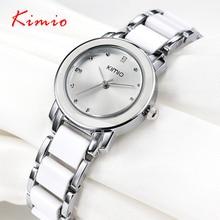 Kimio 2017 señoras de la marca de imitación reloj de cerámica de lujo de oro mujeres visten el reloj de pulsera relojes con correa de aleación fina caja de regalo