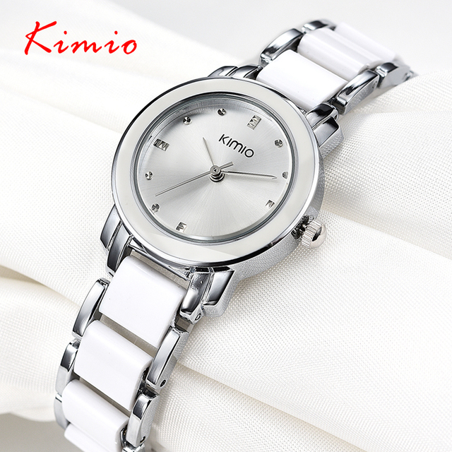 Kimio 2018 Brand Ladies Imitation Ceramic Watch Luxury Gold Bracelet Watches wit