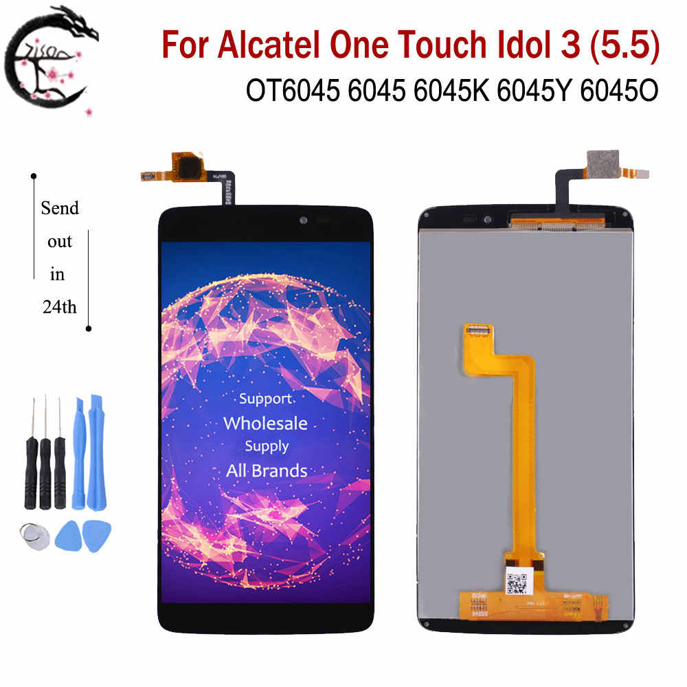 Full LCD For <font><b>Alcatel</b></font> One Touch Idol 3 (5.5) OT6045 6045 6045K <font><b>6045Y</b></font> 6045O <font><b>Display</b></font> Screen Glass Touch Sensor Digitizer Assembly image