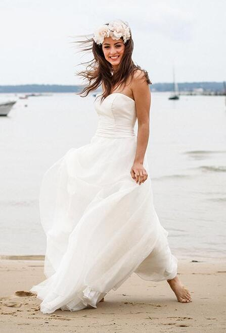 2016 designer a line sweep train chiffon strapless informal beach bohemian wedding dresses simple destination