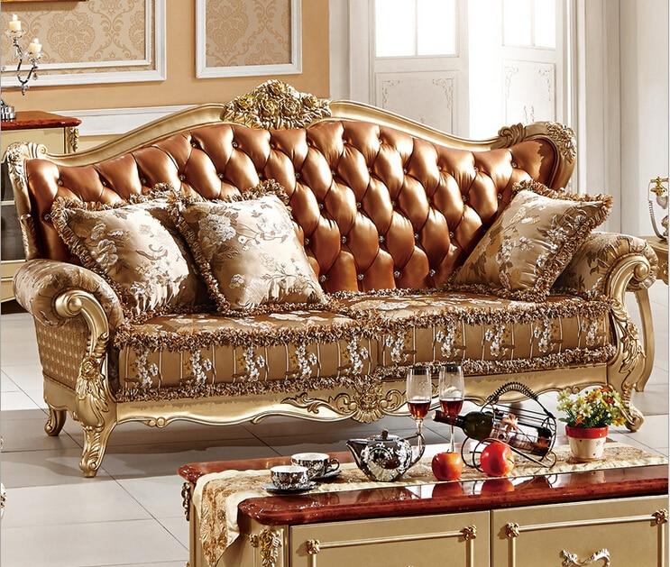 Stile francese soggiorno mobili divano 187 con cuoio di grano in ...