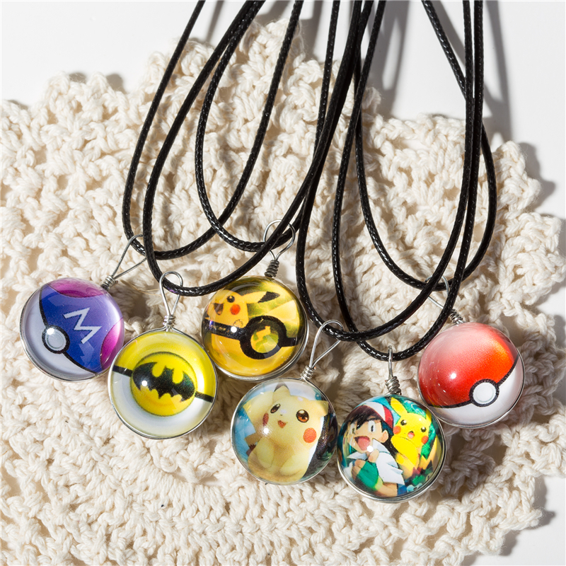 Hot Glass Jewelry Eevee Pokeball Necklace Pokemon Ball Pendant Personalized Picture Necklaces circle