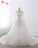 Jark Tozr New Arrival Robe De Mariee Boat Neck Long Sleeve Bridal Gowns White Tulle Vintage