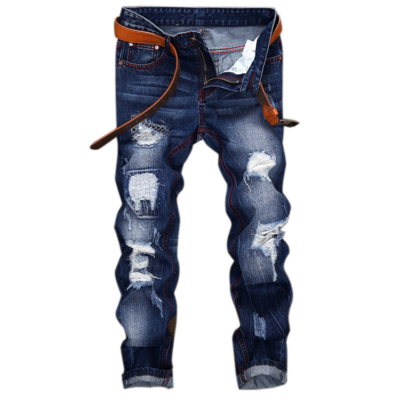 Men S Hole Patch Ripped Jeans Slim Fit Patchwork Print Denim Pants Fashion Zipper Pocket Long Trousers