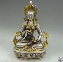 Collection rare old Tibet Tibetan silver Vajrasattva Dorje Sempa Buddha Statue