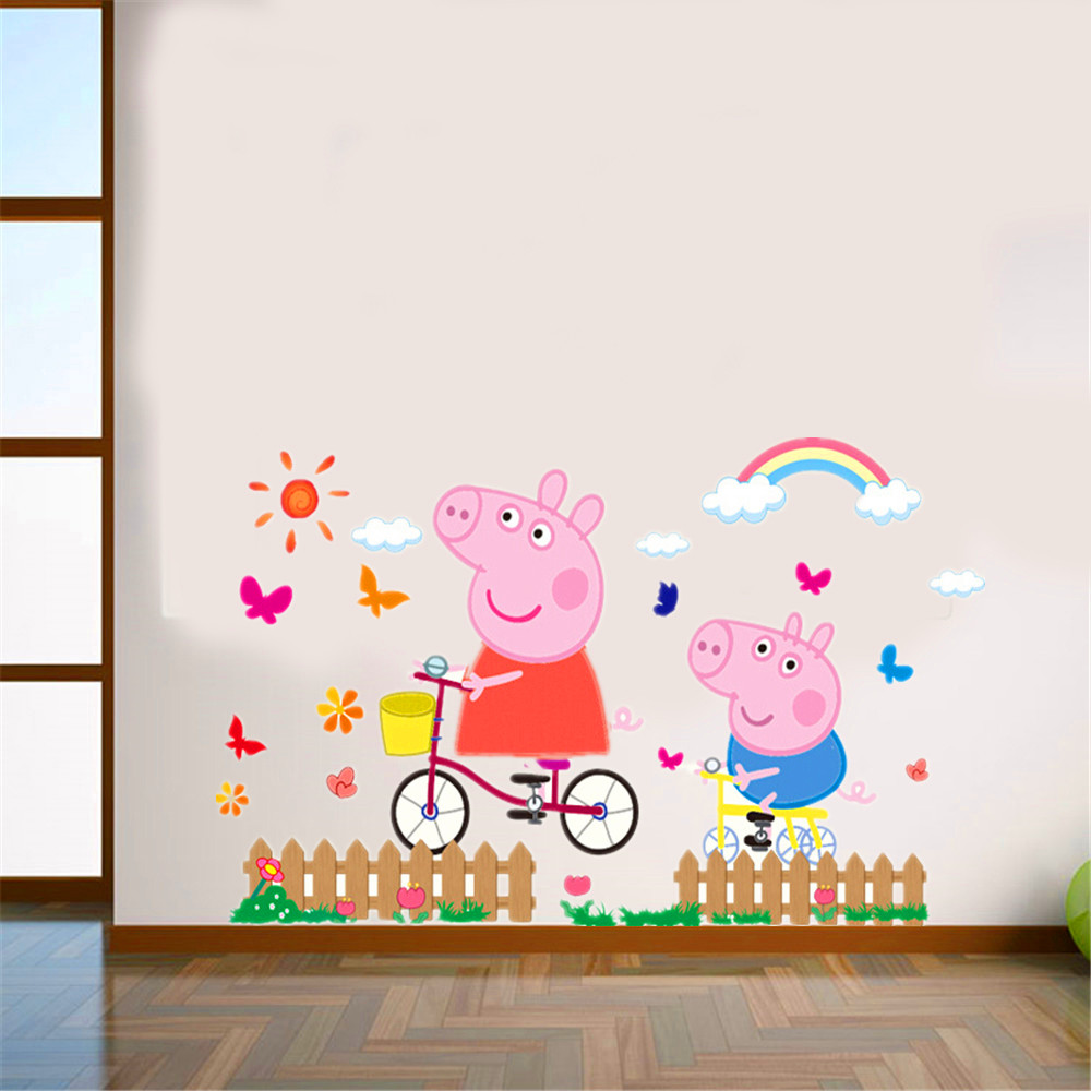 3D cartoon pink family PVC Decals Adhesive Peppa Pig Wall Stickers Mural Home Decor kids boy rooms nursery birthday gift