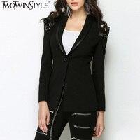 TWOTWINSTYLE Lace Up Back Hollow Women Blazer Single Button Black Coat Big Size Long Sleeve Tunic