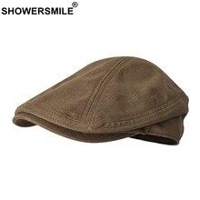 SHOWERSMILE Vintage Flat Caps For Men Solid Linen Beret Hat Women Casual Coffee Duckbill Ivy Cap Brand Summer Breathable Hats