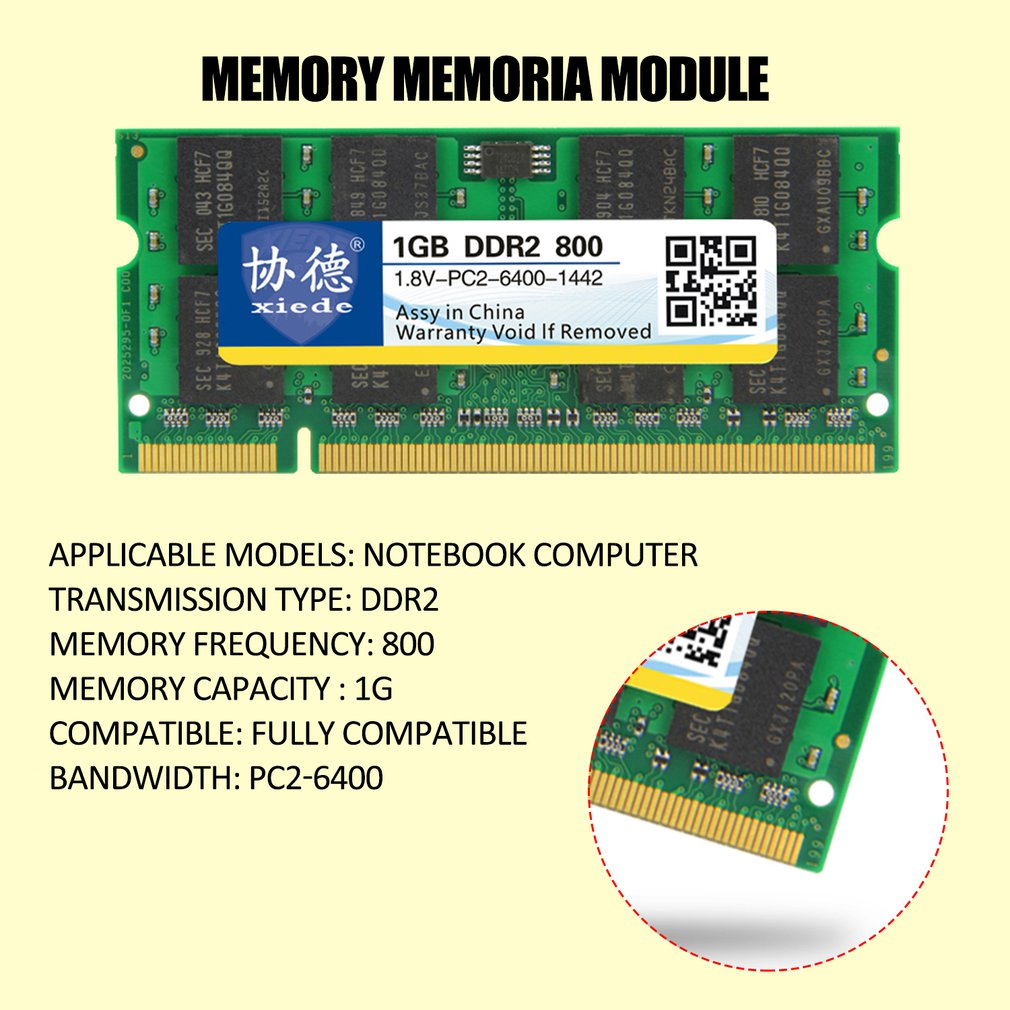 xiede DDR2 800 1G/2G Laptop PC Memory <font><b>Memoria</b></font> Module PC2-6400 Fully compatible image