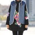 Women velvet Denim Vests Sleeveless Coat leisure Fleece Denim Tanks Winter Thick Cashmere Vests