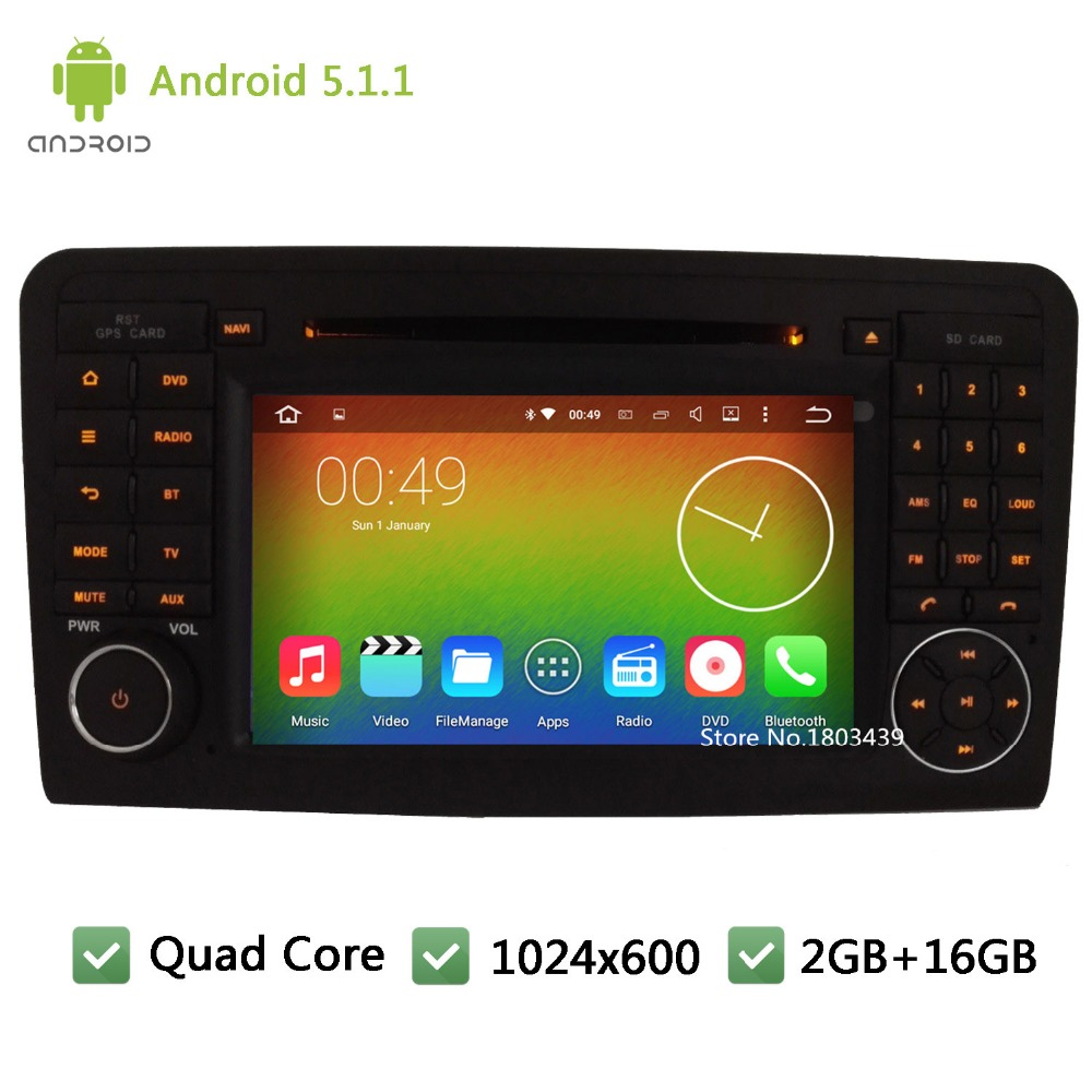Quad core Android 5.1.1 Car DVD Player Radio Audio Stereo Screen For Mercedes-Benz GL CLASS X164 GL320 GL350 GL420 GL450G L500