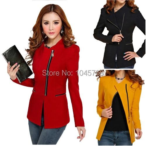 740d20bc095 2017 Spring Summer Women Slim Zipper Asymmetric Formal Jacket Womens Office  Work Wear Fall Black Overcoat