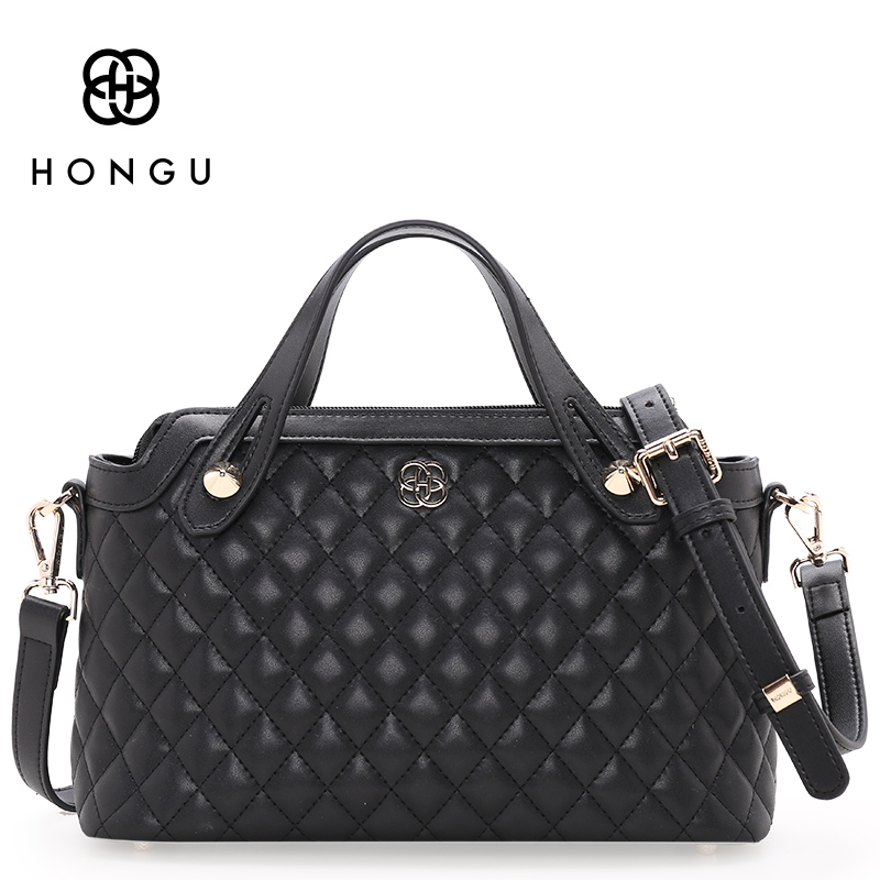 Hongu Genuine Leather Diamond Plaid Tote Luxury Handbags Women Bags Designer Women Famous Brands Bolsa Lady Shoulder Louis Bags ннх шапка