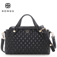 Hongu Genuine Leather Diamond Plaid Tote Luxury Handbags Women Bags Designer Women Famous Brands Bolsa Lady Shoulder Louis Bags