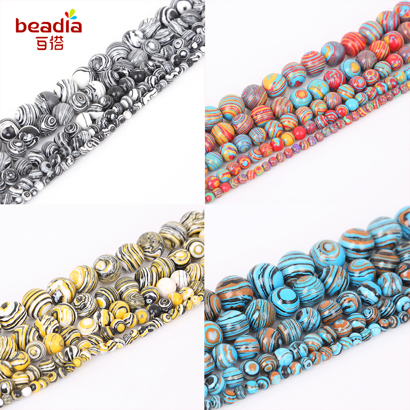 Beads Jewelry & Accessories Energetic Wholesale 4-12mm Malachite Round Bead Aperture 38cm/bag Color Mixing Beads Bracelet Necklace Diy Fashion Jewelry