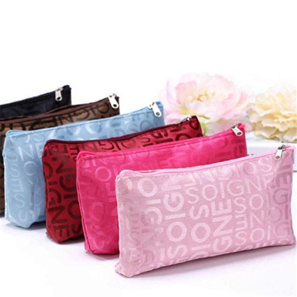 Oxford Women Portable Zipper Cosmetic Bag Letter Pattern Makeup Bags Pouch Toiletry Organizer Travel Accessories stylish letter applique fries pattern bucket hat for women