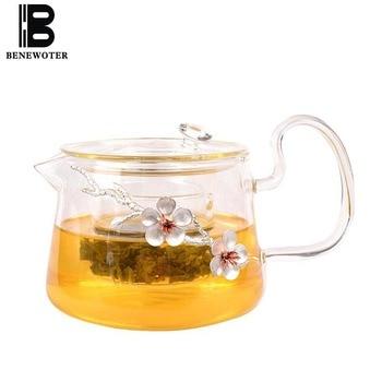 Handmade Creative Tin Plum Glass Teapots Transparent High Borosilicate Glass Tea Pot Heat Resistant Kung Fu Tea Set Home Kettle