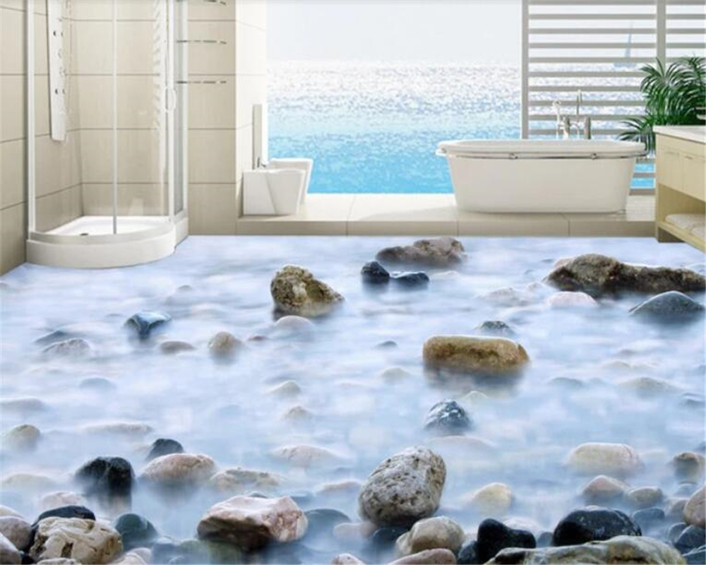 Beibehang High-definition Cobblestone Bathroom 3D Floor Painting Waterproof Self-adhesive 3D Wallpaper Wallpaper For Walls 3 D