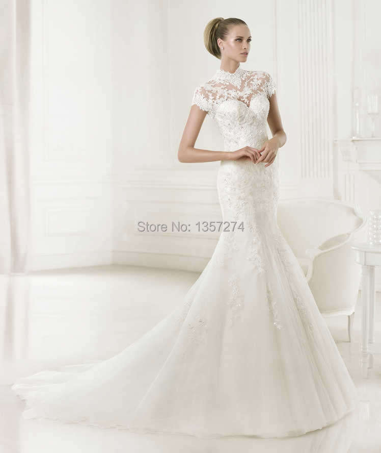 See Through Turtleneck Lace Wedding Dresses with Seeve Short Bride ...