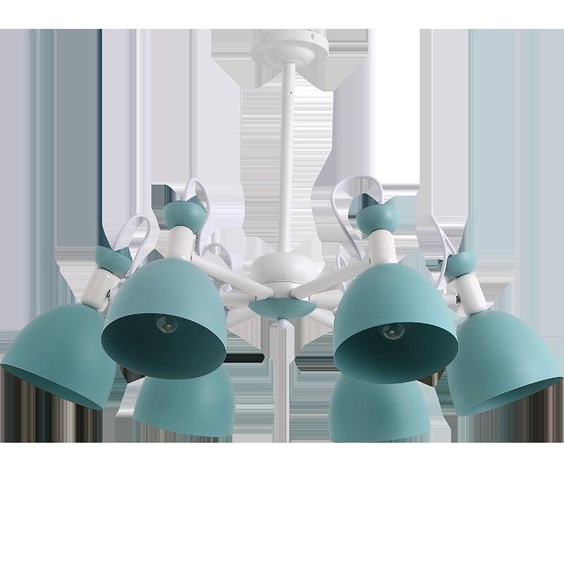 Apartamento de hierro azul lámpara techo accesorios para adolescentes dormitorio chico es iluminación escaparate juegos lámpara sombra mini E27 lustres - 5