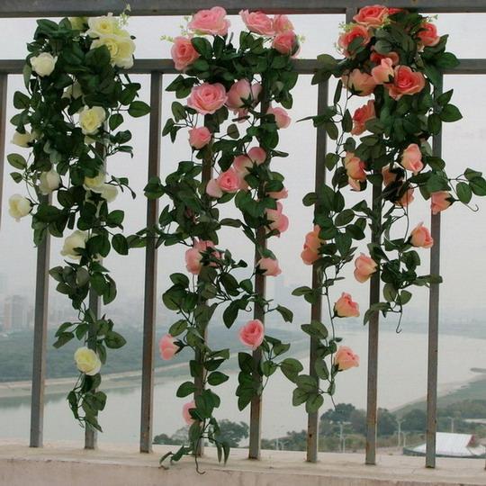 90cm kunstlik siidist roosikirvri võltslill Ivy viinamarjade lehed - Pühad ja peod - Foto 2