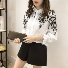New design Fashion Women Long Lantern Sleeve Blouse Embroidery Floral Shirts Stand Collar Retail & wholesale
