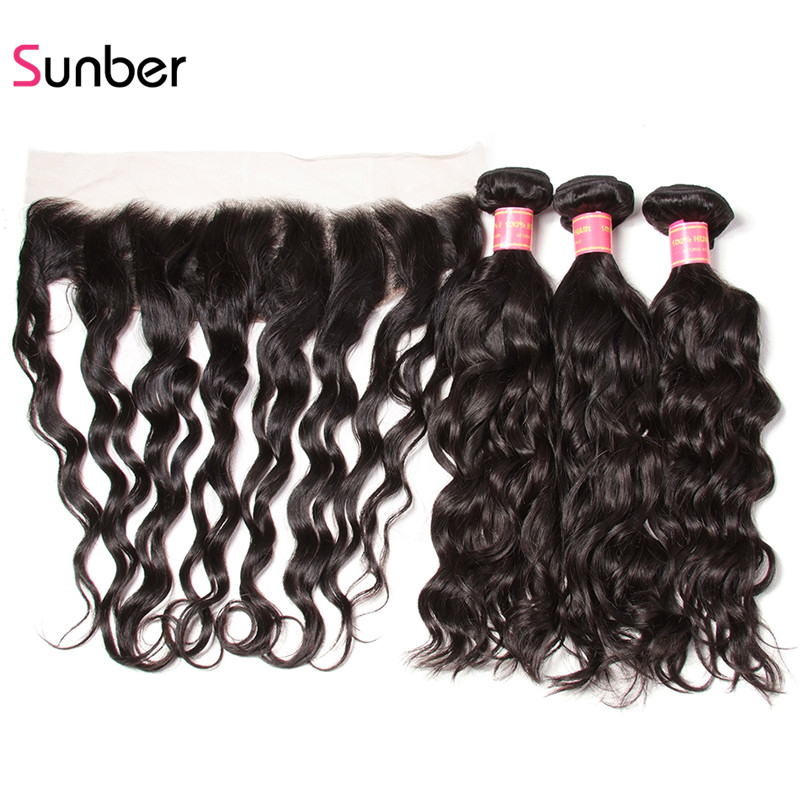Sunber Hair Brazilian Natural Wave Remy Hair Bundles With Frontal One Piece 13x4 Free Part Lace Frontal with 3 Bundles Hair