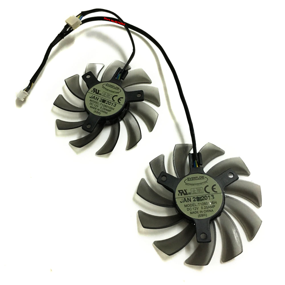 2PCS 75mm Fan VGA video Cards Cooler For ASUS R9 270X/270 GTX 960/970 GTX960 GTX970 graphics card cooling system