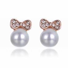 SUKI Cute Gold Pink Butterfly Bowknot Ear Stud Earrings Simulated-Pearl Charm Earrings For Women Crystal Fashion Jewelry Gifts(China)