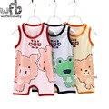 Retail 1-3years 3 patterns Sleeveless Baby boys girls romper cartoon underwaist kids Infant jumpsuits Clothing fashion summer