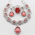 Round Imitated Red Garnet Silver Color Women Jewelry Sets Necklace Pendant Drop Earrings Rings  Bracelet Merry Christmas Gift