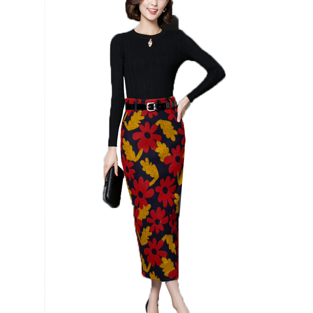 2016 bodycon saias de Lã inverno quente mulheres de cintura alta moda ajuste do deslizamento do vintage floral impressão saias senhora saias femme preto W004
