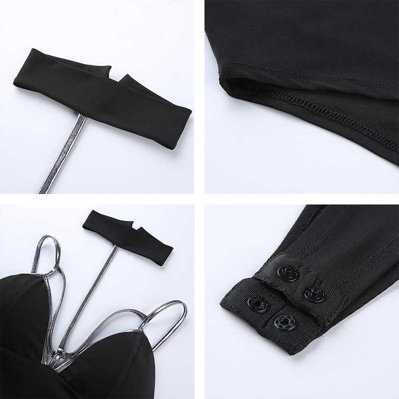 Rapwriter Panelled Spaghetti Strap Sexy Deep V-Neck Choker Bodysuit Women 2019 Summer Backless Bodycon Tank Bodysuits Black