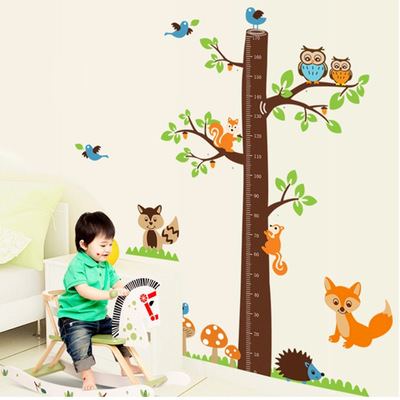 DIY Large 2pcs/set Owl on the Branch <font><b>Children</b></font> Height Charts Vinyl Wall <font><b>Stickers</b></font> Animal Kids Baby Rooms Nursery Home Decals