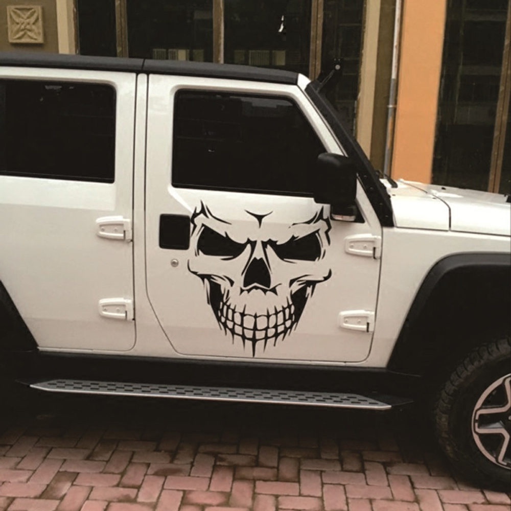 50 57cm black white skull head decal machine cover hood sticker for jeep jk wrangler renegade compass grand cherokee patriot