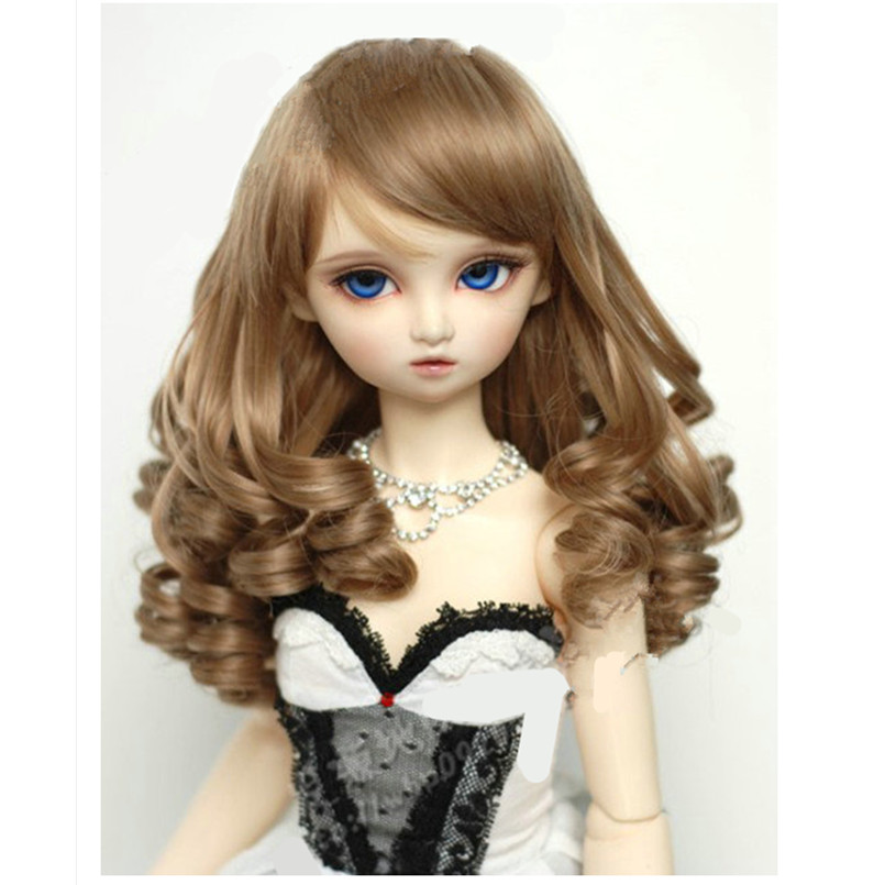 BEIOUFENG (22-24CM) 1/3 BJD Wig Long Curly Wigs Accessories for Dolls,Synthetic Doll Hair Deep Coffee Color Doll Wig for Dolls 3 4 half wig synthetic 25 dark black to coffee brown ombre long curly hair wigs