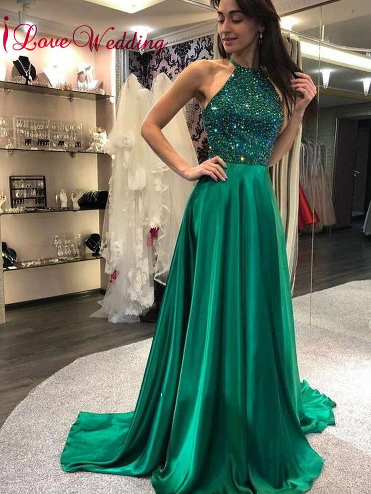 New Fashion 2019 Halter Heavy Beaded Custom Made Reception Dress Formal Long Satin Prom Dresses Gown For Party Suitable For Men And Women Of All Ages In All Seasons Prom Dresses