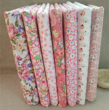 Hoomall 7Pcs/Lot 25*25cm Mixed Pink Floral Fabric Patchwork DIY Sewing Cloth Cotton Fabric Scrapbooking