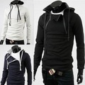 Fashion placket double zipper hoodies & sweatshirts CONTRAST COLOR hooded coat cultivate one's morality with thick fleeces