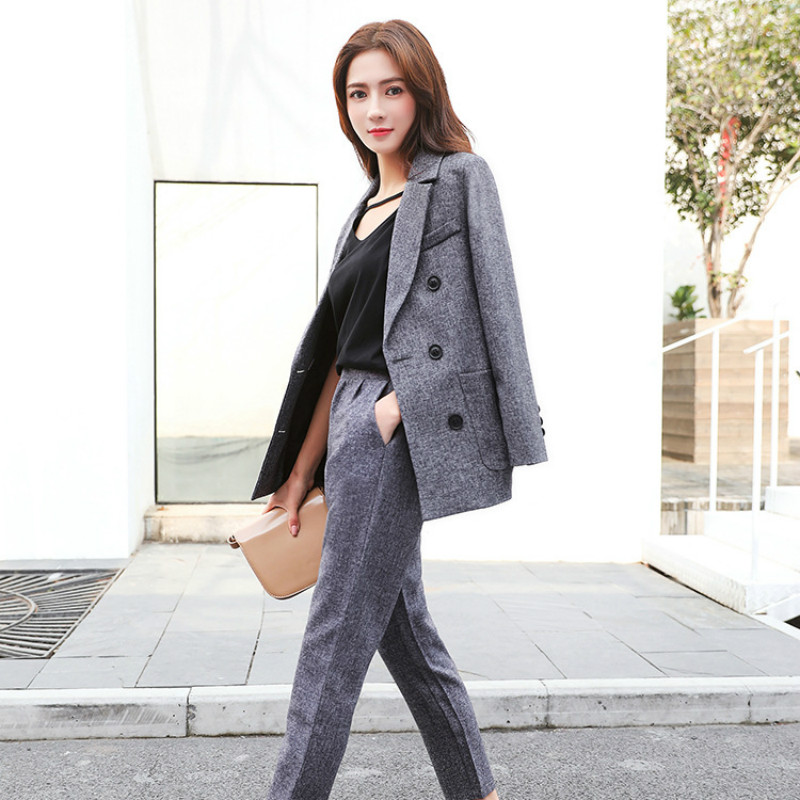 Set female 2018 spring new style fashion casual solid color wild small suit + straight pants elegant two-piece suit